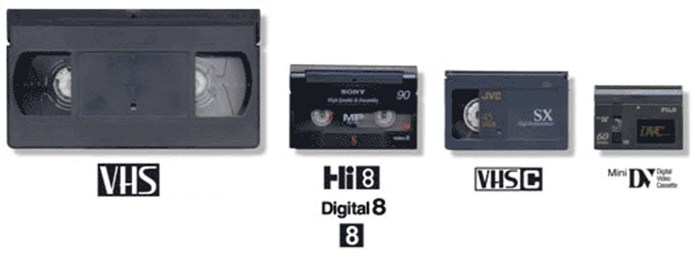Image of different size VCR tapes